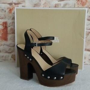 New Michael Kors Leonor Leather Platform Sandal